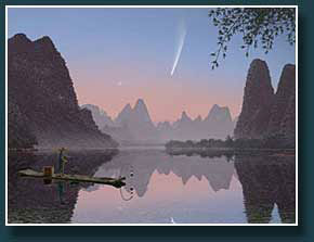 Thumbnail  the Great Comet of 1882 over China's Li River